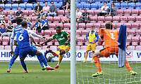 Preston North End's Darnell Fisher fires a shot towards goal<br /> <br /> Photographer David Shipman/CameraSport<br /> <br /> The EFL Sky Bet Championship - Wigan Athletic v Preston North End - Monday 22nd April 2019 - DW Stadium - Wigan<br /> <br /> World Copyright © 2019 CameraSport. All rights reserved. 43 Linden Ave. Countesthorpe. Leicester. England. LE8 5PG - Tel: +44 (0) 116 277 4147 - admin@camerasport.com - www.camerasport.com
