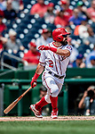 1 August 2018: Washington Nationals outfielder Adam Eaton singles to lead off the bottom of the first inning against the New York Mets at Nationals Park in Washington, DC. The Nationals defeated the Mets 5-3 to sweep the 2-game weekday series. Mandatory Credit: Ed Wolfstein Photo *** RAW (NEF) Image File Available ***