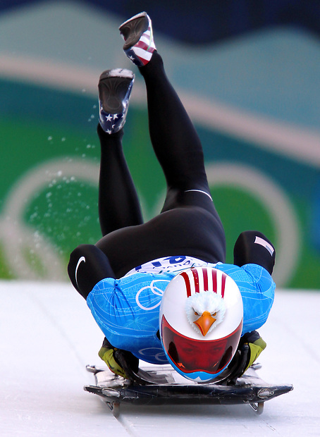 USA's Katie Uhlaender of Vail, Col., starts a skeleton training run at the XXI Olympic Winter Games Wednesday, February 17, 2010 at the Whistler Sliding Center in Whistler, British Columbia.