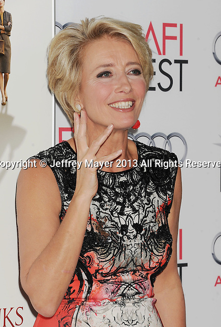 HOLLYWOOD, CA- NOVEMBER 07: Actress Emma Thompson  arrives at AFI FEST 2013 Opening Night Gala premiere of 'Saving Mr. Banks' at TCL Chinese Theatre on November 7, 2013 in Hollywood, California.