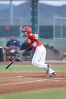 Morgan Lofstrom (33) of the AZL Reds bats during a game against the AZL Brewers at Cincinnati Reds Spring Training Complex on July 5, 2015 in Goodyear, Arizona. Reds defeated the Brewers, 9-4. (Larry Goren/Four Seam Images)