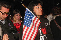 New York, NY -  1 May 2011 New Yorkers rally at Ground Zero to celebrate the death of Osama Bin Laden