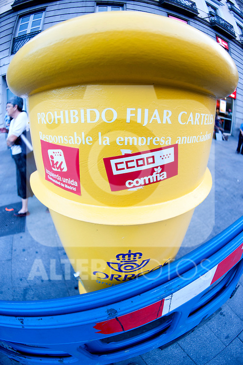 "Expression of the Spanish trade unions against cuts and closures of public services.A mailbox of the National Post Company ""Correos"" with stickers of the unions and political parties under the caption ""No fix Signs""..(Alterphotos/Ricky)"
