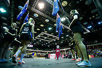 19.01.2019 Silver Ferns Laura Longman walks leads the team out onto the court during the Silver Ferns v Australia netball test match at The Copper Box Arena. Mandatory Photo Credit ©Michael Bradley Photography/Christopher Lee