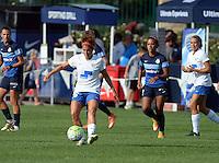 Kansas City, MO - Sunday August 28, 2016: Angela Salem, Frances Silva during a regular season National Women's Soccer League (NWSL) match between FC Kansas City and the Boston Breakers at Swope Soccer Village.