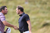 Ryan Fox (NZL) and Danny Willett (ENG) finish on the 18th green during Sunday's Final Round of the 2018 Dubai Duty Free Irish Open, held at Ballyliffin Golf Club, Ireland. 8th July 2018.<br /> Picture: Eoin Clarke | Golffile<br /> <br /> <br /> All photos usage must carry mandatory copyright credit (&copy; Golffile | Eoin Clarke)