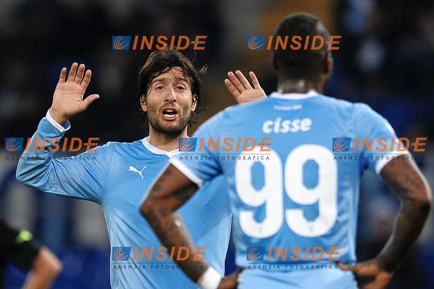 Giuseppe Sculli e Djibril Cisse Lazio.Roma 10/01/2012 Stadio Olimpico.Tim Cup Coppa Italia 2011/2012 Football Calcio .Lazio Vs Verona.Foto Insidefoto Andrea Staccioli
