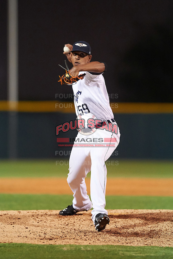 Lakeland Flying Tigers relief pitcher Edgar De La Rosa (59) delivers a pitch during a game against the Tampa Yankees on April 7, 2016 at Henley Field in Lakeland, Florida.  Tampa defeated Lakeland 9-2.  (Mike Janes/Four Seam Images)