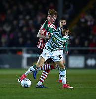 Lincoln City's Mark O'Hara battles with Yeovil Town's Alefe Santos<br /> <br /> Photographer Andrew Vaughan/CameraSport<br /> <br /> The EFL Sky Bet League Two - Lincoln City v Yeovil Town - Friday 8th March 2019 - Sincil Bank - Lincoln<br /> <br /> World Copyright © 2019 CameraSport. All rights reserved. 43 Linden Ave. Countesthorpe. Leicester. England. LE8 5PG - Tel: +44 (0) 116 277 4147 - admin@camerasport.com - www.camerasport.com