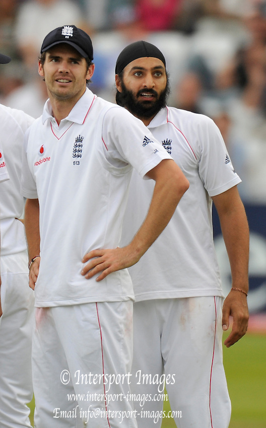 London GREAT BRITAIN,  left james ANDERSON and right Monty PANESAR, look up at the replay of Anderson catch bowled by Panesar, during the 1st Test England vs South Africa Lord's Cricket Ground, St John's Wood, Sat 12.07.2008 [Mandatory Credit Peter Spurrier/Intersport Images]