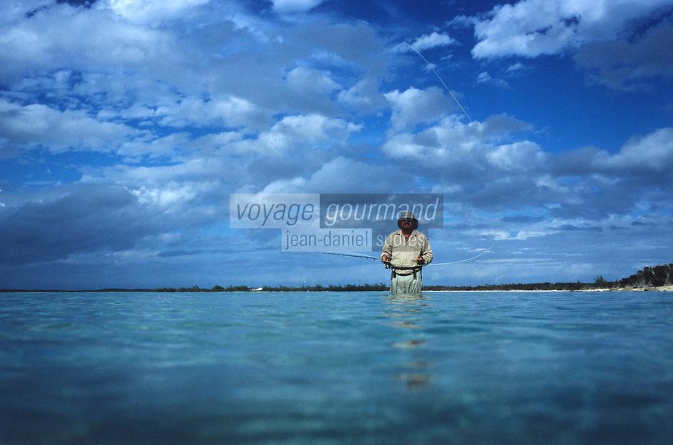 """Iles Bahamas /Ile de Long Island: initiation à la péche au bonefish à la mouche en mer au Lodge de péche """"Chez Pierre"""""""