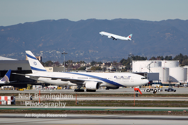 LOS ANGELES, CALIFORNIA, USA - JANUARY 15, 2013 - An El Al Israel Airlines Boeing 777-258(ER) takes off at Los Angeles Airport on January 15, 2013.  It has an anti-missile defense system installed.