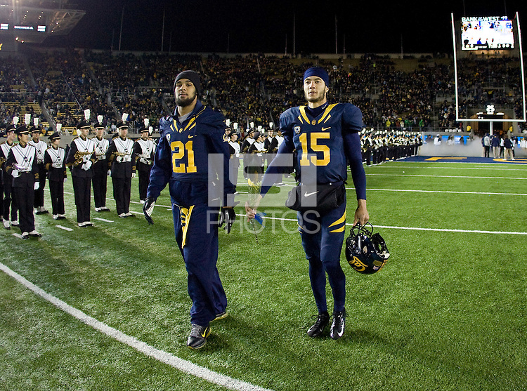 California quarterback Zach Maynard and California wide receiver Keenan Allen walk on the field during senior ceremony before the game against Oregon at Memorial Stadium in Berkeley, California on November 10th, 2012.   Oregon Ducks defeated California Bears, 59-17.