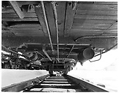 Underside of D&amp;RGW living car #0270.<br /> D&amp;RGW  Durango, CO  Taken by Payne, Andy M. - 12/30/1972