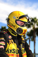 Nov 11, 2010; Pomona, CA, USA; NHRA top alcohol dragster driver Bill Reichert during qualifying for the Auto Club Finals at Auto Club Raceway at Pomona. Mandatory Credit: Mark J. Rebilas-