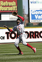 April 24, 2004:  Shortstop Pablo Ozuna (8) of the Scranton-Wilkes Barre Red Barons, Class-AAA International League affiliate of the Philadelphia Phillies, during a game at Frontier Field in Rochester, NY.  Photo by:  Mike Janes/Four Seam Images