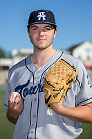 Asheville Tourists pitcher Riley Pint (32) poses for a photo prior to the game against the Kannapolis Intimidators at Kannapolis Intimidators Stadium on May 8, 2017 in Kannapolis, North Carolina.  Pint was the 4th overall selection in the 2016 First Year Player Draft by the Colorado Rockies.   (Brian Westerholt/Four Seam Images)