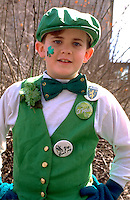 Irish youth age 9 celebrating at St. Patrick's Day parade.  St Paul  Minnesota USA