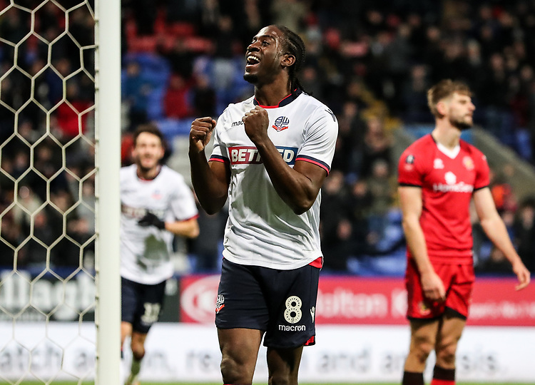 Bolton Wanderers' Clayton Donaldson celebrates scoring his side's third goal <br /> <br /> Photographer Andrew Kearns/CameraSport<br /> <br /> Emirates FA Cup Third Round - Bolton Wanderers v Walsall - Saturday 5th January 2019 - University of Bolton Stadium - Bolton<br />  <br /> World Copyright © 2019 CameraSport. All rights reserved. 43 Linden Ave. Countesthorpe. Leicester. England. LE8 5PG - Tel: +44 (0) 116 277 4147 - admin@camerasport.com - www.camerasport.com