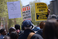 Baltimore, MD - April 25, 2015: Hundreds of protestors gathered near the Baltimore Police Department's Western District Headquarters April 25, 2015 to demand police accountability in the death of Freddie Gray and protest police brutality. Gray died of a broken spine while in police custody.  (Photo by Don Baxter/Media Images International)