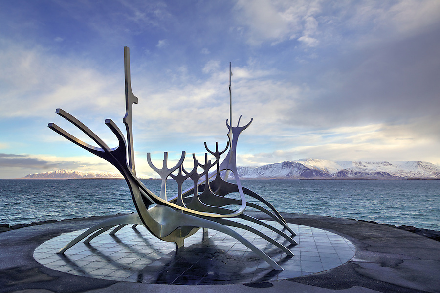 The Sun Voyager, a stainless-steel sculpture of a boat, at edge of Faxa Bay, Reykjavik, Iceland