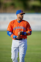 Syracuse Mets Robinson Cano (4) during warmups before an International League game against the Charlotte Knights on June 11, 2019 at NBT Bank Stadium in Syracuse, New York.  Syracuse defeated Charlotte 15-8.  (Mike Janes/Four Seam Images)