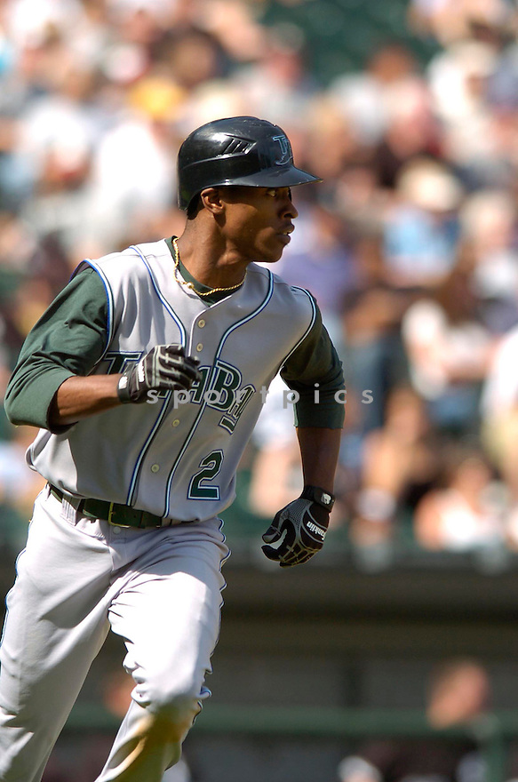 BJ UPTON, of the Tampa Bay Devil Rays , in action during the  Devil Rays  game against the Chicago White Sox  in Chicago, IL, on May 27,  2007...Devil Rays  win 11-5...DAVID DUROCHIK / SPORTPICS.