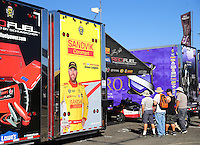 Nov 11, 2016; Pomona, CA, USA; The car hauler trailer for the dragster of NHRA top fuel driver Shawn Langdon during qualifying for the Auto Club Finals at Auto Club Raceway at Pomona. Mandatory Credit: Mark J. Rebilas-USA TODAY Sports
