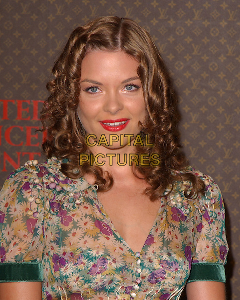 JAIME KING.The 2nd Annual Louis Vuitton United Cancer Front Gala held at Universal Studios, Stage 24 in Universal City, California .November 8th, 2004.headshot, portrait, floral print, red pink lipstick, green velvet trimmed sleeves.www.capitalpictures.com.sales@capitalpictures.com.©Debbie Van Story/Capital Pictures