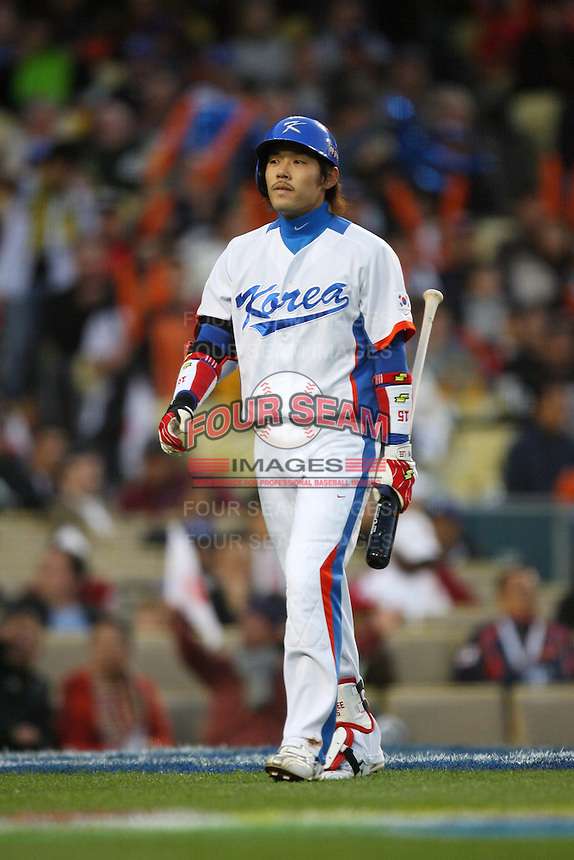 Yongkyu Lee of Korea during a game against Japan at the World Baseball Classic at Dodger Stadium on March 23, 2009 in Los Angeles, California. (Larry Goren/Four Seam Images)