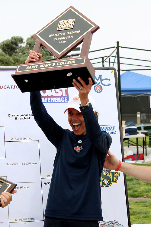 SAN DIEGO, CA - APRIL 25:  Lisa Alipaz of the Saint Marys Gaels with the trophy after the WCC Tennis Championships at the Barnes Tennis Center on April 25, 2010 in San Diego, California.