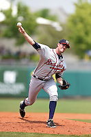 Mississippi Braves pitcher James Hoyt (51) delivers a pitch during a game against the Montgomery Biscuits on April 22, 2014 at Riverwalk Stadium in Montgomery, Alabama.  Mississippi defeated Montgomery 6-2.  (Mike Janes/Four Seam Images)