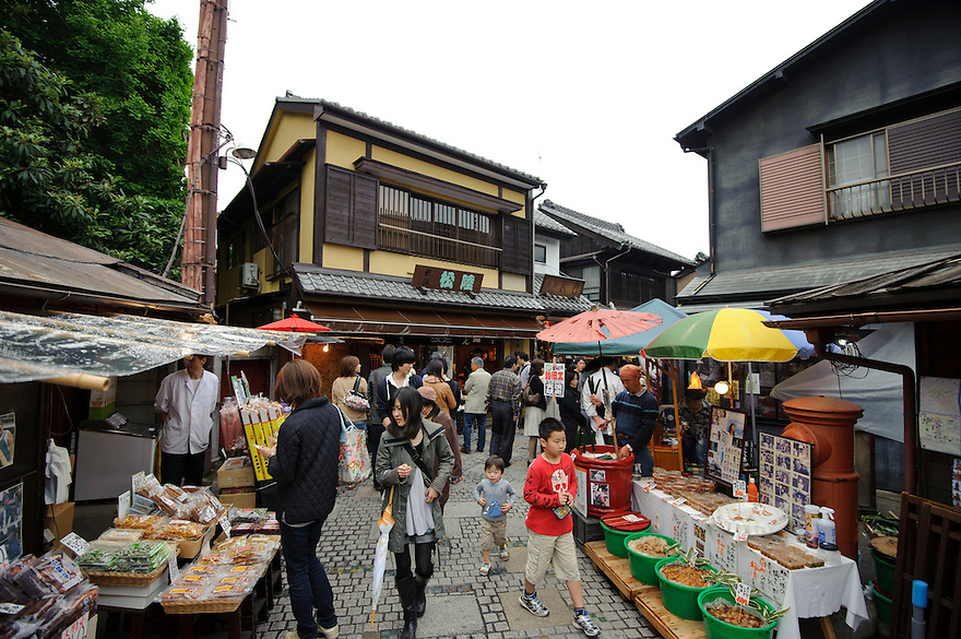 Shopping for sweets in Kashiyayokocho, Kawagoe, Saitama Prefecture, Japan, May 7, 2011.