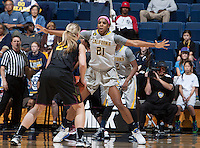 Reshanda Gray of California in defense mode during the game against Arizona State at Haas Pavilion in Berkeley, California on February 16th, 2014.  California defeated Arizona State, 74-63.