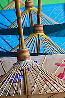 Underside of decorative umbrellas drying after being hand painted, Bo Sang, near Chiang Mai, Thailand