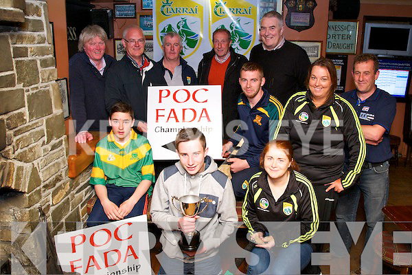 POC: At the launch of Poc Fada in Kirby's Bar Launch, Ballyheigue on Friiday night, Front l-r: Maurice O'Connor (Kilmoyley),David Kissane and Triona Brasill. Back l-r: Michael Leane (Ballyheigue), John Lucid,(Secretary Hurling Steering group),Ger McCarthy (Hurling Offrs KCB), Pat Dineen (Secretary NKHB),Joe Walsh (Chairman NKHB),Aiden McCabe KIlmoyley),Michelle Carroll (Camogie) and Jeremiah Slattery (Ballyheigue).