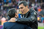 Manager Juan Ramon Lopez Muniz of Levante UD is greeted by coach Luis Ernesto Valverde Tejedor of FC Barcelona prior to the La Liga 2017-18 match between FC Barcelona and Levante UD at Camp Nou on 07 January 2018 in Barcelona, Spain. Photo by Vicens Gimenez / Power Sport Images