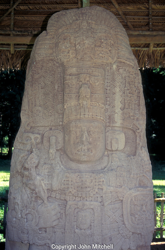 Weathered image of Myan ruler Cauac Sky on Stela K at the ruins of Quirigua, Guatemala