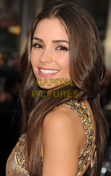 "Olivia Culpo.arriving at the World Premiere of ""Ted"" at Grauman's Chinese Theatre in Hollywood, California, USA, .June 21st, 2012. .portrait headshot smiling side gold .CAP/ROT/TM.©TM/Roth Stock/Capital Pictures"