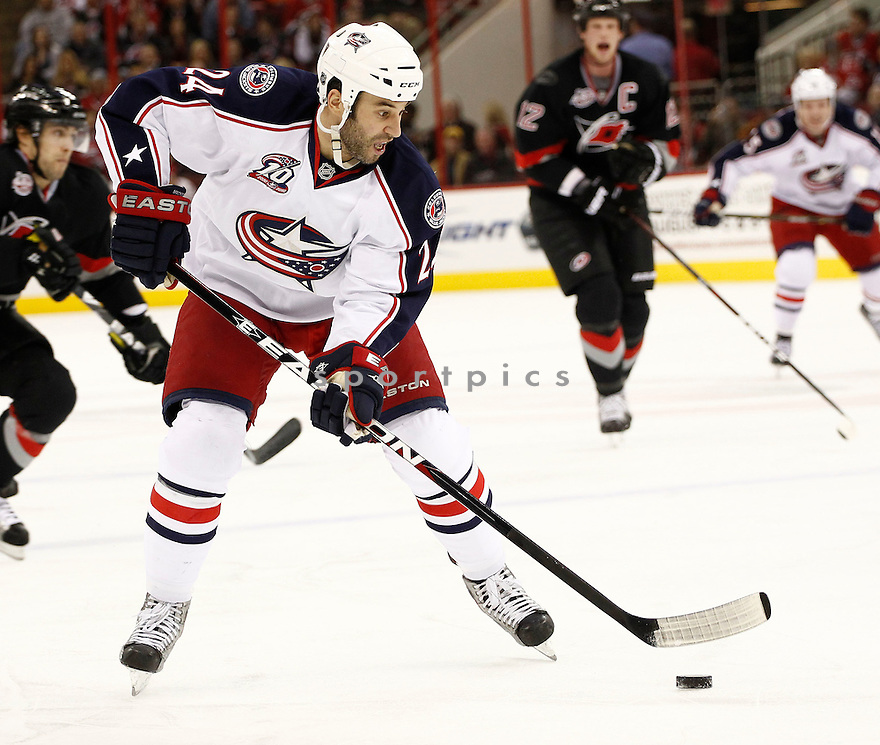 DEREK MACKENZIE, of the Columbus Blue Jackets, in action during the Blue Jackets game against the Carolina Hurricanes, on March 12, 2011 at the RBC Center in Raleigh, NC. The Blue Jackets beat the Hurricanes 3-2.
