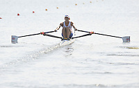 Poznan, POLAND,   GBR LW1X Elaine JOHNSTONE competing in the heats of the lightweight women's single sculls, on the first day of the, 2009 FISA World Rowing Championships. held on the Malta Rowing lake, Sunday 23/08/2009 [Mandatory Credit. Peter Spurrier/Intersport Images]