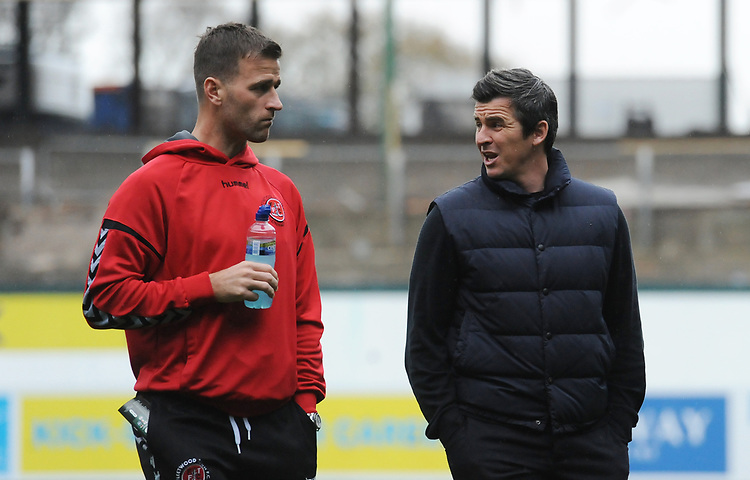 Fleetwood Town manager Joey Barton (right) chats with Ryan Taylor<br /> <br /> Photographer Kevin Barnes/CameraSport<br /> <br /> The EFL Sky Bet League One - Plymouth Argyle v Fleetwood Town - Saturday 24th November 2018 - Home Park - Plymouth<br /> <br /> World Copyright © 2018 CameraSport. All rights reserved. 43 Linden Ave. Countesthorpe. Leicester. England. LE8 5PG - Tel: +44 (0) 116 277 4147 - admin@camerasport.com - www.camerasport.com