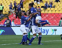 BOGOTÁ- COLOMBIA,14-07-2019:Angie Castaneda jugadora de Millonarios femenino  celebra despué de anotar un gol a la  Equidad femenino  durante el primer partido de la Liga Águila Femenina 2019 jugado en el estadio Nemesio Camacho El Campín de la ciudad de Bogotá. /Angie Castaneda player of Millonarios womens team celebrates after scoring a goal  against of Equidad during the firts match for the Liga Aguila women  2019 played at the Nemesio Camacho El Campin stadium in Bogota city. Photo: VizzorImage / Felipe Caicedo / Staff