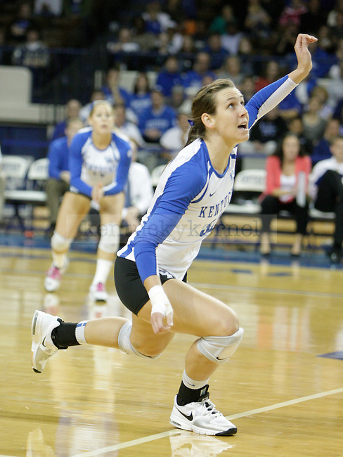 Senior Christine Hartmann (32) waits for an incoming spike during the UK women's volleyball game v. East Tennessee University during the NCAA tournament in Memorial Coliseum in Lexington, Ky., on Friday, November 30, 2012. Photo by Genevieve Adams | Staff