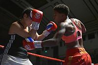 Cherrelle Brown (red shorts) defeats Borislava Goranova during a Boxing Show at York Hall on 30th November 2018