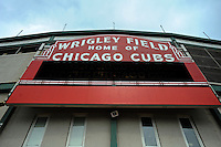 The iconic sign is seen outside Wrigley Field, a Chicago landmark, in Chicago, Illinois on March 23, 2009.