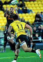 Liam Messam takes a pass during the Super Rugby quarterfinal match between the Hurricanes and Chiefs at Westpac Stadium in Wellington, New Zealand on Friday, 20 July 2018. Photo: Dave Lintott / lintottphoto.co.nz