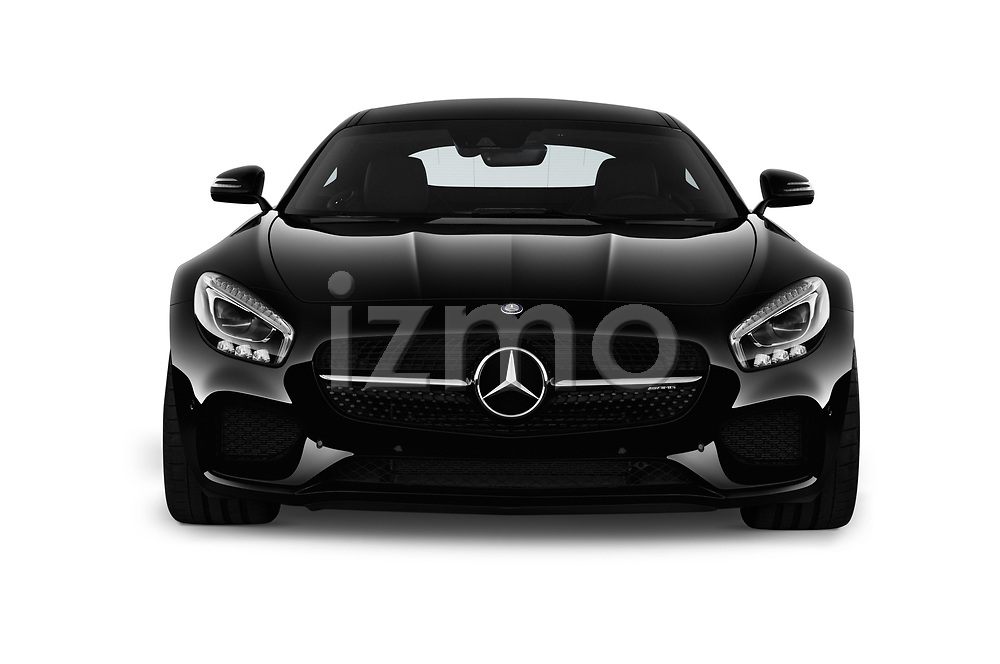 Car photography straight front view of a 2017 Mercedes Benz AMG-GT - 3 Door Coupe Front View