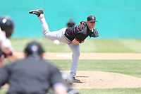 Brett Ash (27) of the Bakersfield Blaze pitches during a game against the High Desert Mavericks at Mavericks Stadium on May 18, 2015 in Adelanto, California. High Desert defeated Bakersfield, 7-6. (Larry Goren/Four Seam Images)