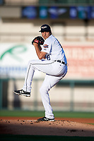 Lakeland Flying Tigers starting pitcher Alex Faedo (13) delivers the first pitch of his professional career during a game against the Tampa Tarpons on April 6, 2018 at Publix Field at Joker Marchant Stadium in Lakeland, Florida.  Lakeland defeated Tampa 6-5.  (Mike Janes/Four Seam Images)